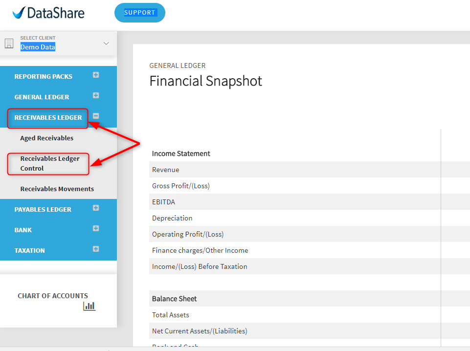 liquidating accounts receivable validis datashare support